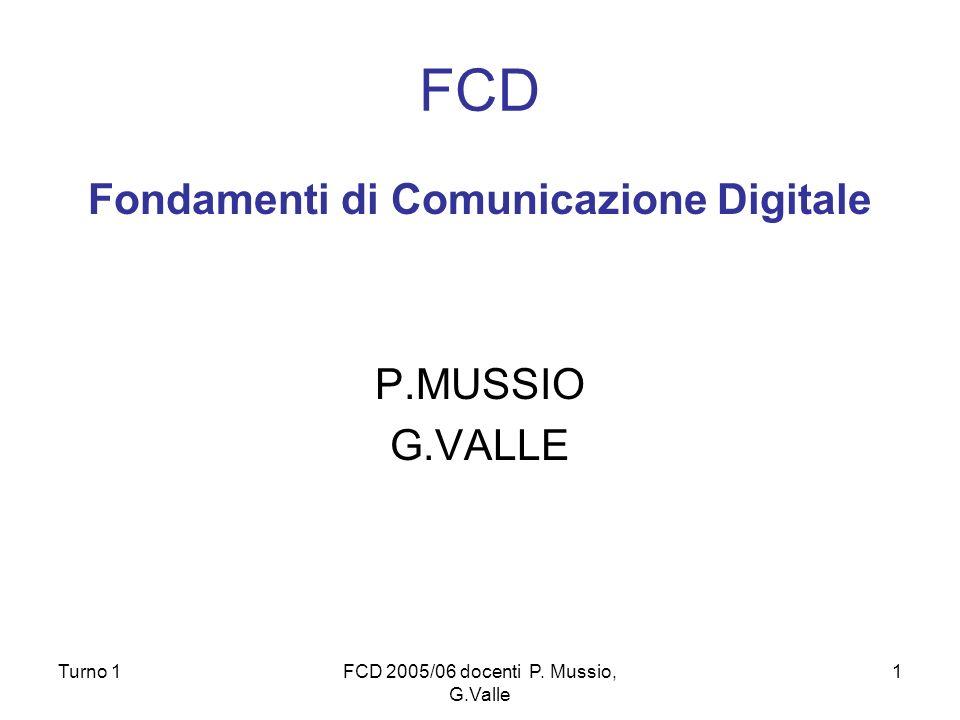 Turno 1FCD 2005/06 docenti P. Mussio, G.Valle 1 FCD Fondamenti di Comunicazione Digitale P.MUSSIO G.VALLE