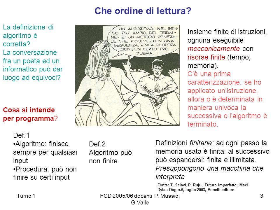 Turno 1FCD 2005/06 docenti P. Mussio, G.Valle 3 Fonte: T. Sclavi, P. Ruju, Futuro Imperfetto, Maxi Dylan Dog n.6, luglio 2003, Bonelli editore Insieme