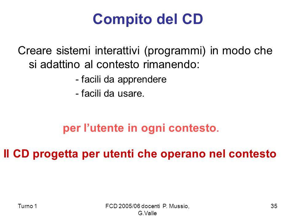 Turno 1FCD 2005/06 docenti P. Mussio, G.Valle 35 Compito del CD Creare sistemi interattivi (programmi) in modo che si adattino al contesto rimanendo: