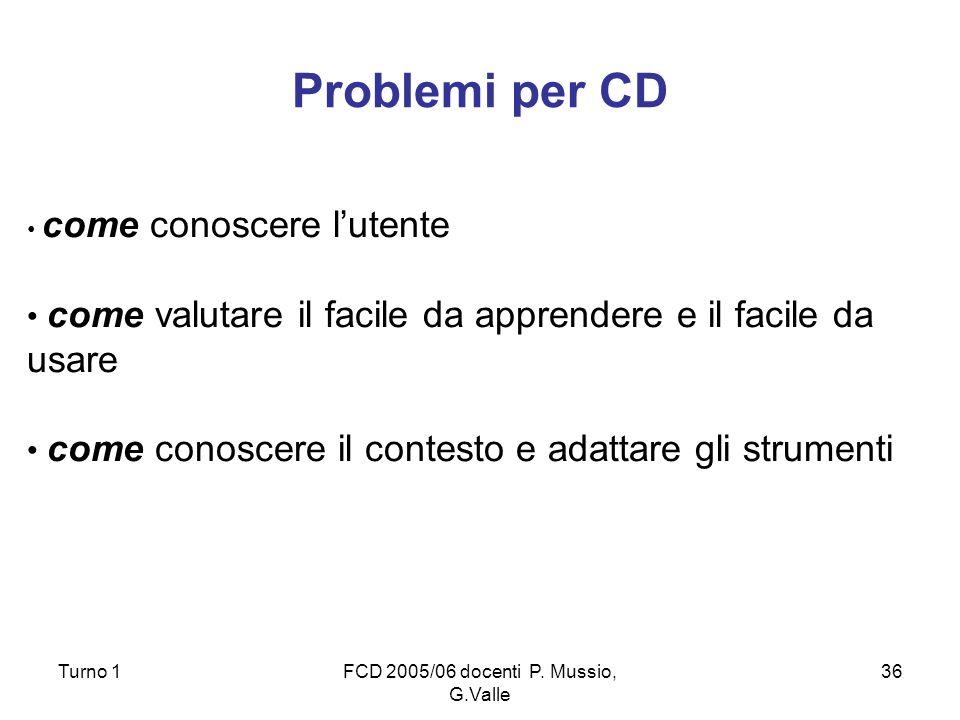 Turno 1FCD 2005/06 docenti P. Mussio, G.Valle 36 Problemi per CD come conoscere lutente come valutare il facile da apprendere e il facile da usare com
