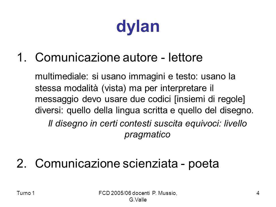 Turno 1FCD 2005/06 docenti P. Mussio, G.Valle 4 dylan 1.Comunicazione autore - lettore multimediale: si usano immagini e testo: usano la stessa modali