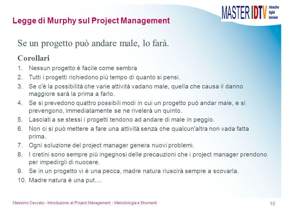 10 Massimo Ceccato - Introduzione al Project Management - Metodologia e Strumenti Se un progetto può andare male, lo farà. Corollari 1.Nessun progetto