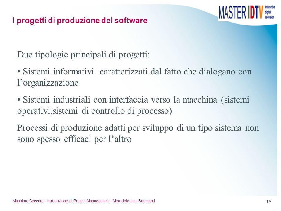 15 Massimo Ceccato - Introduzione al Project Management - Metodologia e Strumenti Due tipologie principali di progetti: Sistemi informativi caratteriz