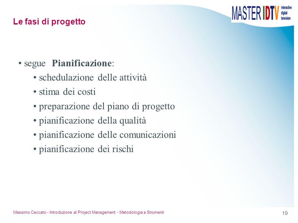 19 Massimo Ceccato - Introduzione al Project Management - Metodologia e Strumenti segue Pianificazione: schedulazione delle attività stima dei costi p