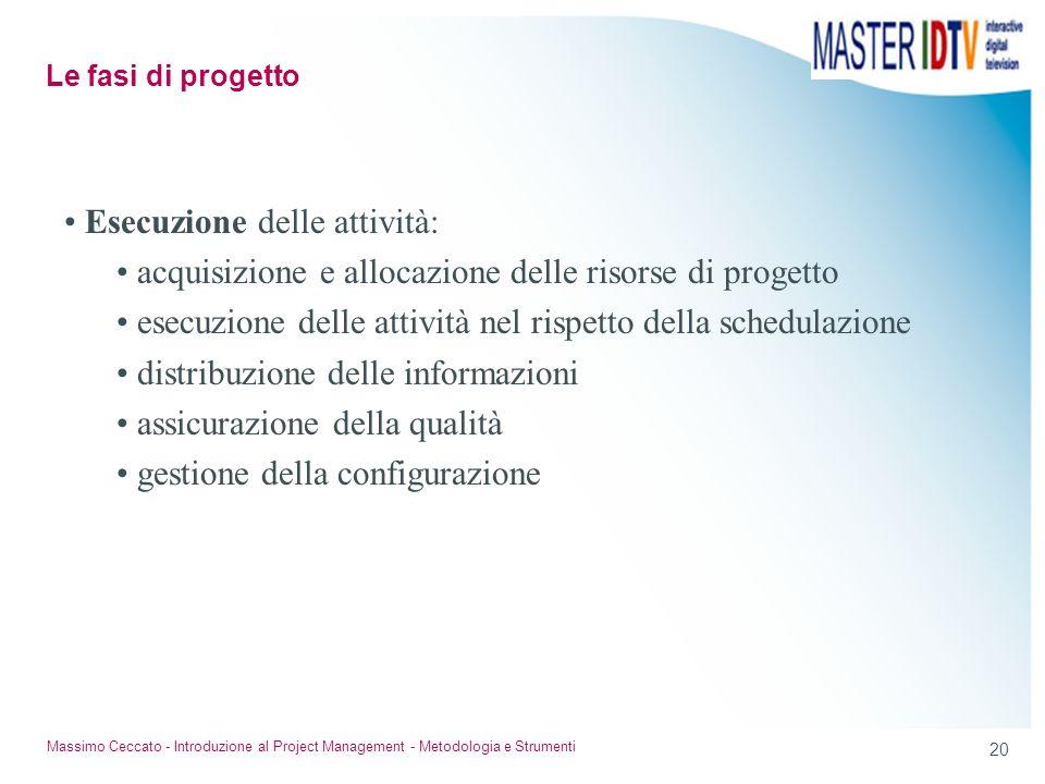 20 Massimo Ceccato - Introduzione al Project Management - Metodologia e Strumenti Esecuzione delle attività: acquisizione e allocazione delle risorse