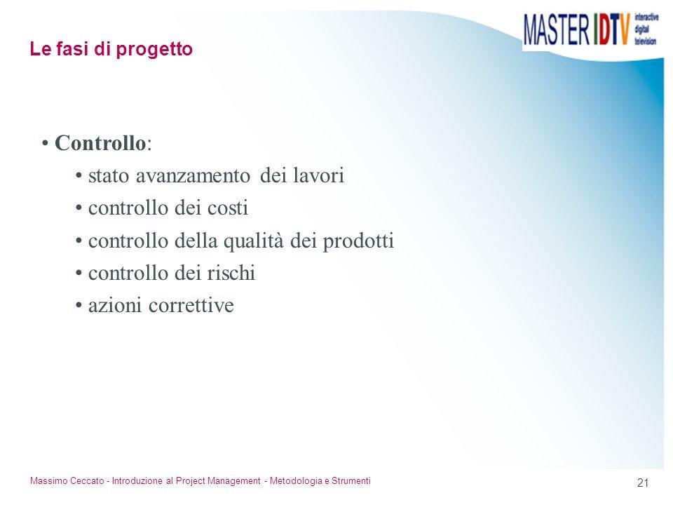 21 Massimo Ceccato - Introduzione al Project Management - Metodologia e Strumenti Controllo: stato avanzamento dei lavori controllo dei costi controll