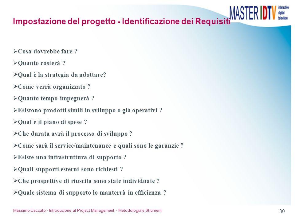 30 Massimo Ceccato - Introduzione al Project Management - Metodologia e Strumenti Cosa dovrebbe fare ? Quanto costerà ? Qual è la strategia da adottar