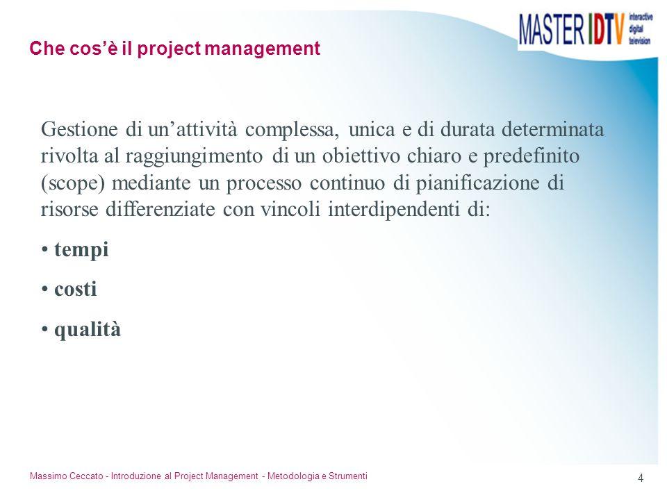4 Massimo Ceccato - Introduzione al Project Management - Metodologia e Strumenti Gestione di unattività complessa, unica e di durata determinata rivol