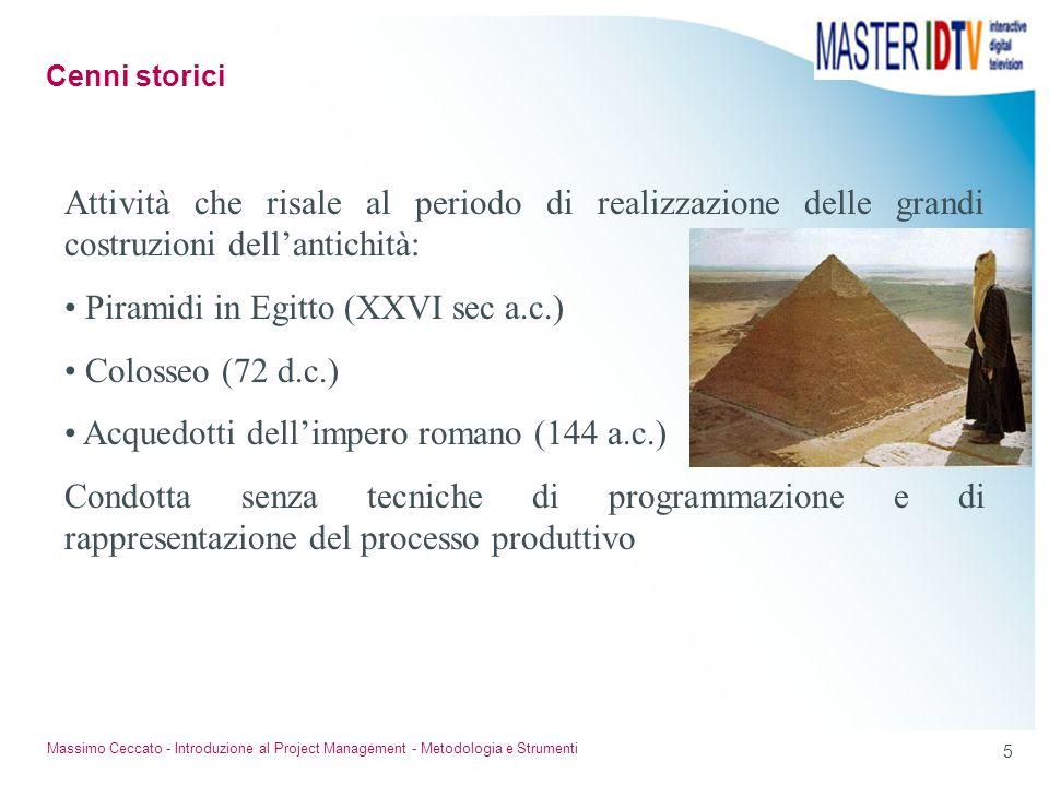 5 Massimo Ceccato - Introduzione al Project Management - Metodologia e Strumenti Attività che risale al periodo di realizzazione delle grandi costruzi