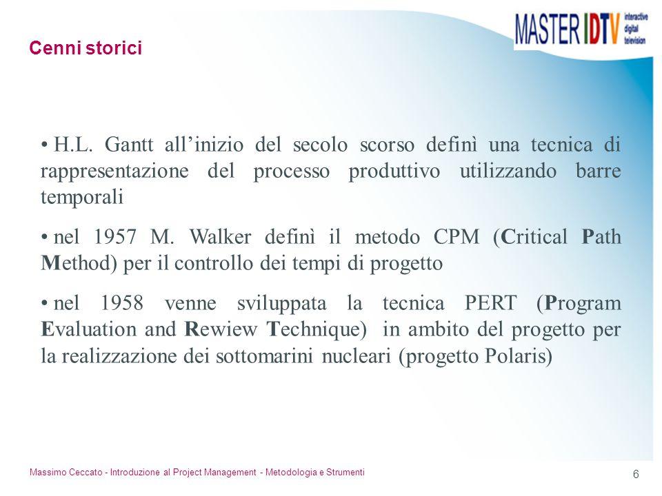 6 Massimo Ceccato - Introduzione al Project Management - Metodologia e Strumenti H.L. Gantt allinizio del secolo scorso definì una tecnica di rapprese