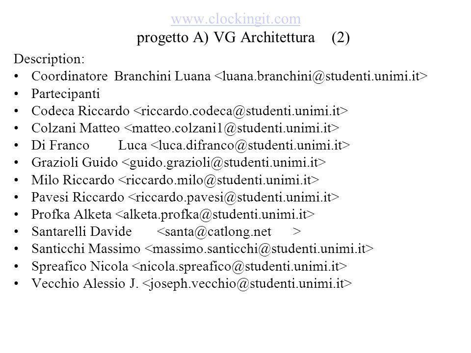 www.clockingit.com www.clockingit.com progetto A) VG Architettura (2) Description: Coordinatore Branchini Luana Partecipanti Codeca Riccardo Colzani M