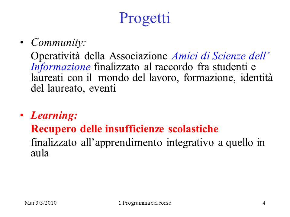 Mar 3/3/20101 Programma del corso4 Progetti Community: Operatività della Associazione Amici di Scienze dell Informazione finalizzato al raccordo fra s