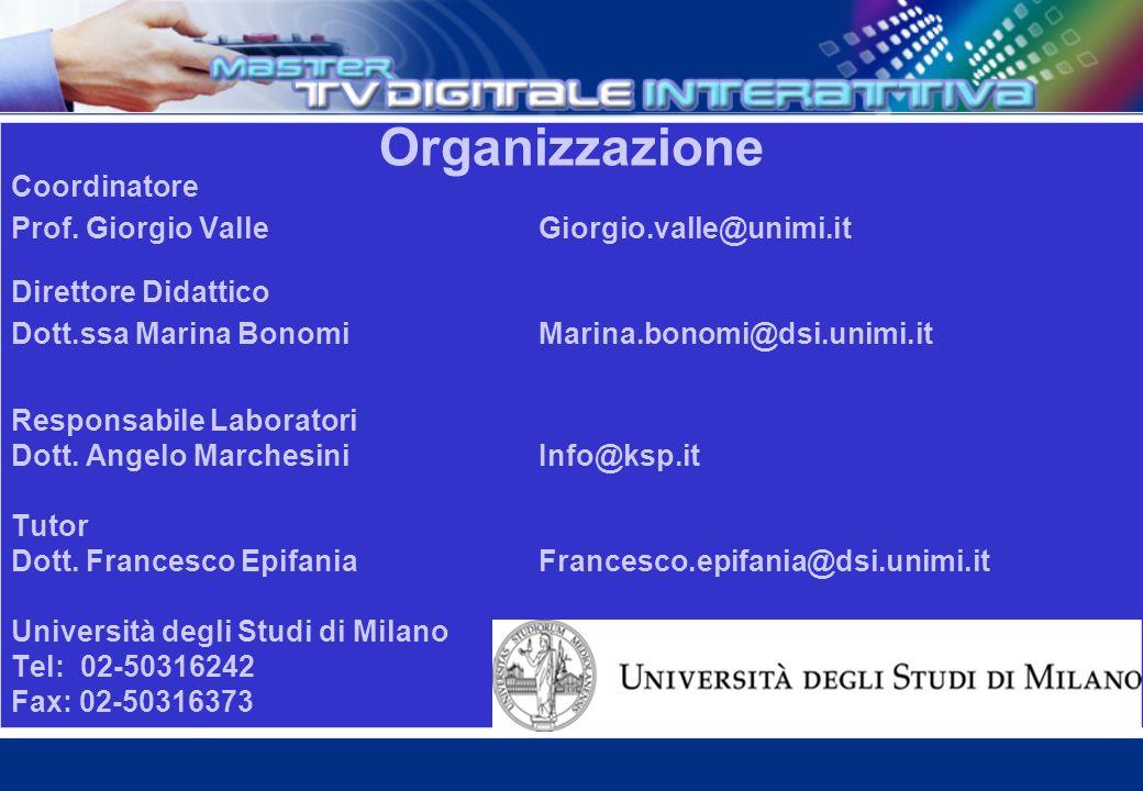 Organizzazione Coordinatore Prof.