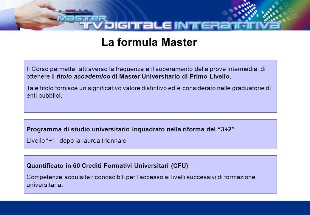 La formula Master Quantificato in 60 Crediti Formativi Universitari (CFU) Competenze acquisite riconoscibili per laccesso ai livelli successivi di formazione universitaria.