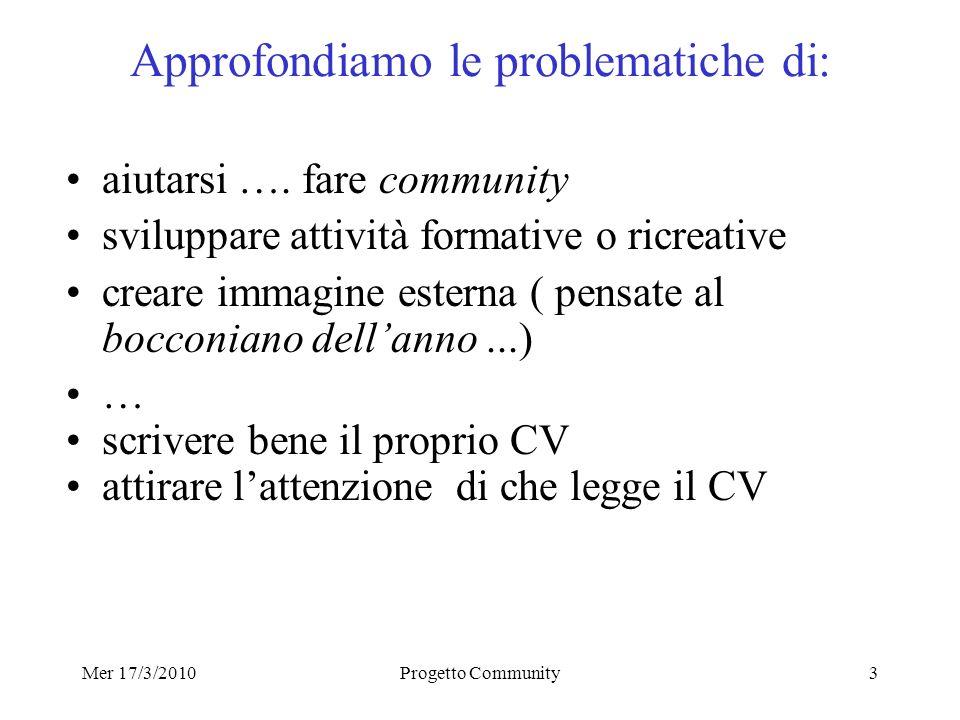 Mer 17/3/2010Progetto Community3 Approfondiamo le problematiche di: aiutarsi ….