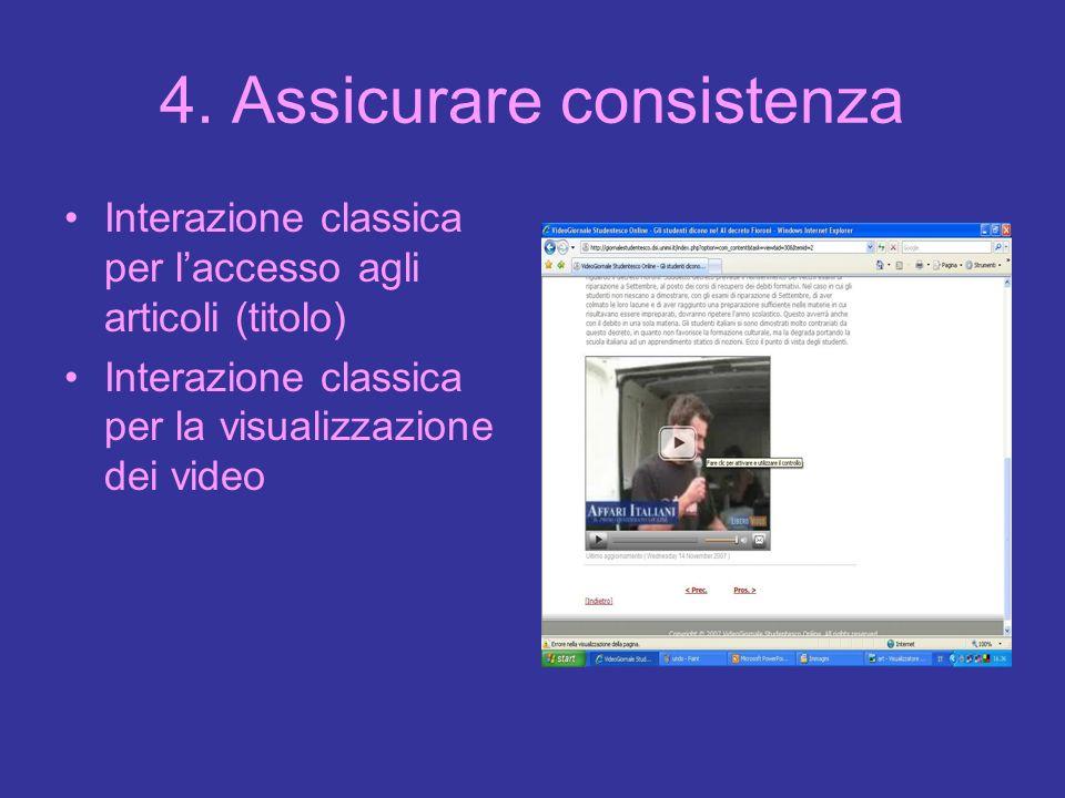 4. Assicurare consistenza Interazione classica per laccesso agli articoli (titolo) Interazione classica per la visualizzazione dei video