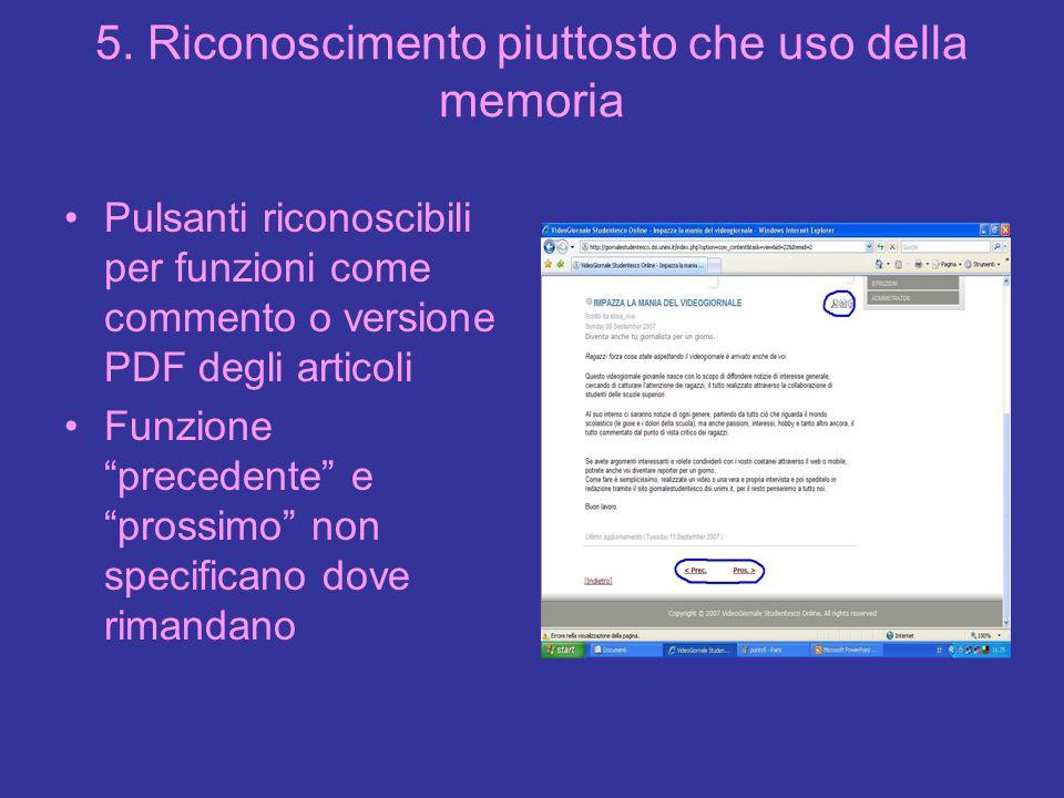 5. Riconoscimento piuttosto che uso della memoria Pulsanti riconoscibili per funzioni come commento o versione PDF degli articoli Funzione precedente