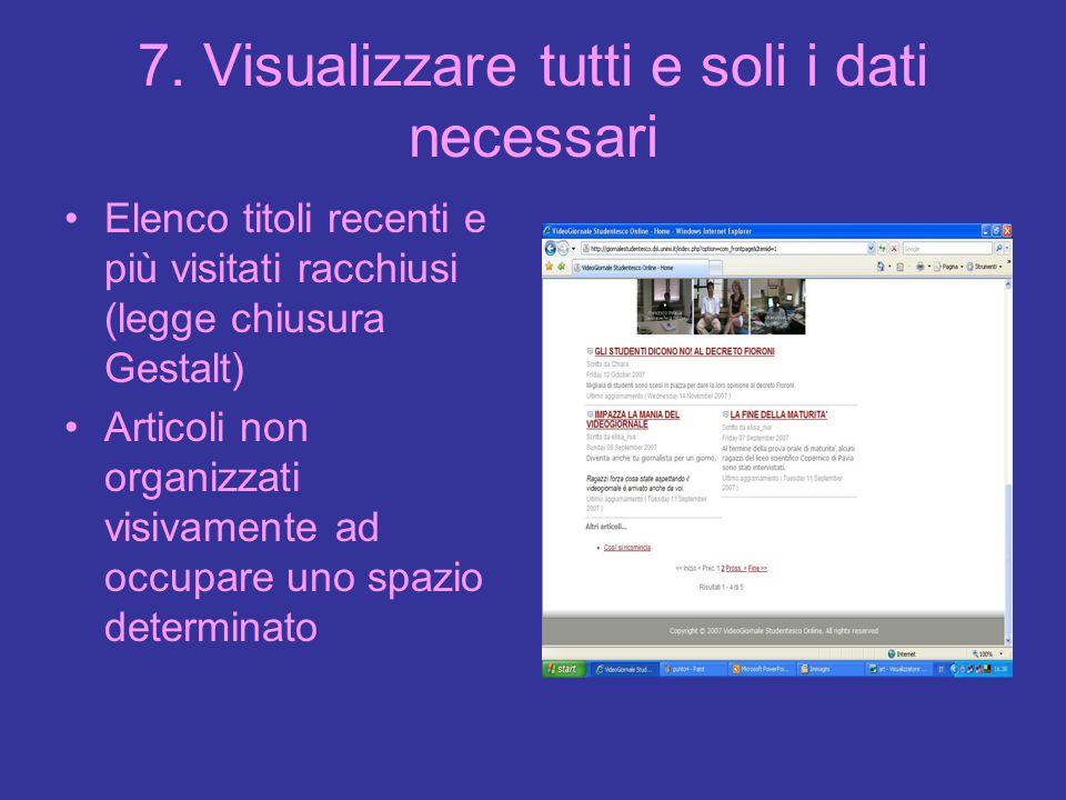 7. Visualizzare tutti e soli i dati necessari Elenco titoli recenti e più visitati racchiusi (legge chiusura Gestalt) Articoli non organizzati visivam