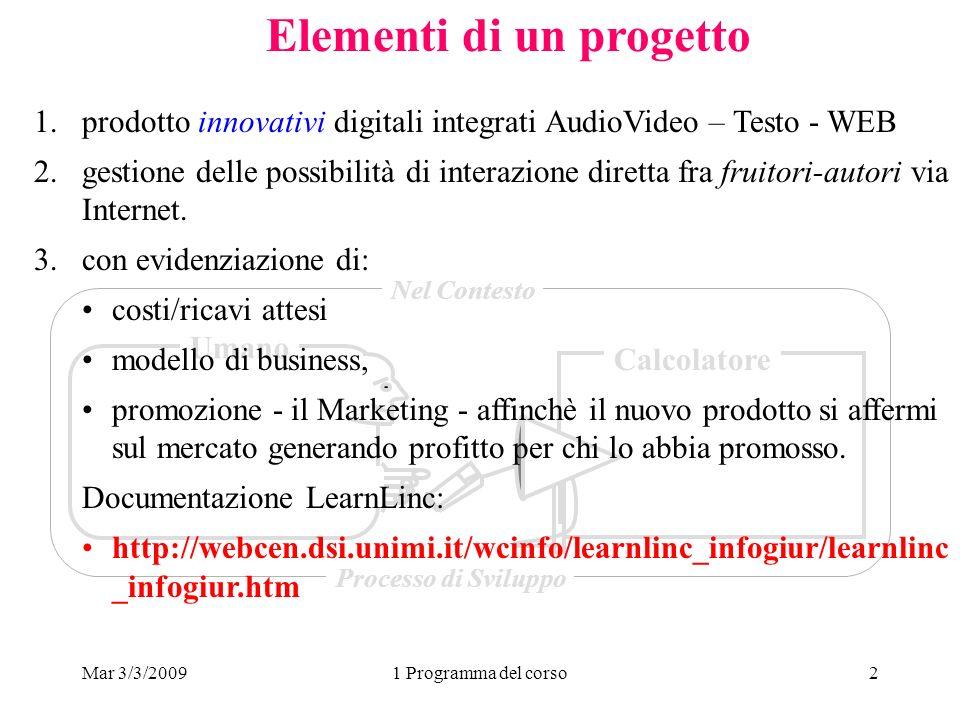 Mar 3/3/20091 Programma del corso2 Elementi di un progetto Umano Calcolatore Nel Contesto Processo di Sviluppo 1.prodotto innovativi digitali integrat