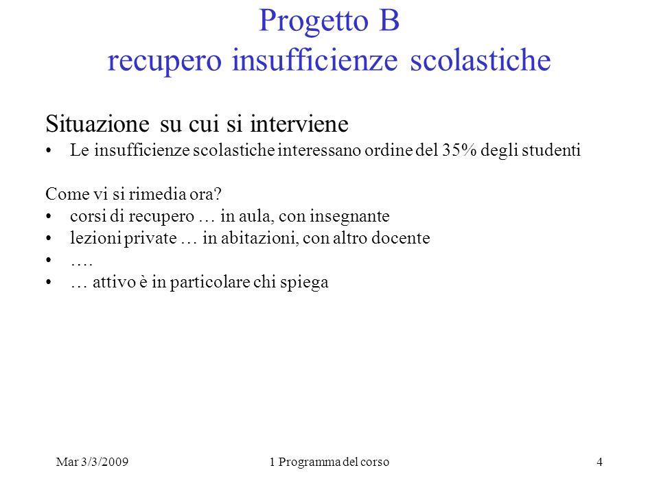 Mar 3/3/20091 Programma del corso4 Progetto B recupero insufficienze scolastiche Situazione su cui si interviene Le insufficienze scolastiche interessano ordine del 35% degli studenti Come vi si rimedia ora.