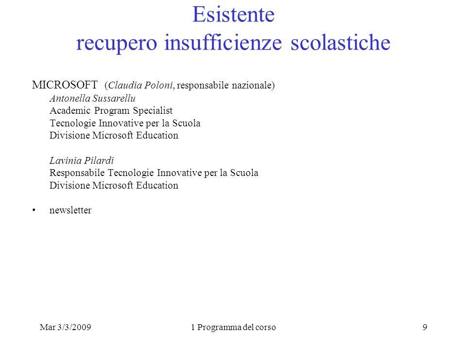 Mar 3/3/20091 Programma del corso9 Esistente recupero insufficienze scolastiche MICROSOFT (Claudia Poloni, responsabile nazionale) Antonella Sussarell