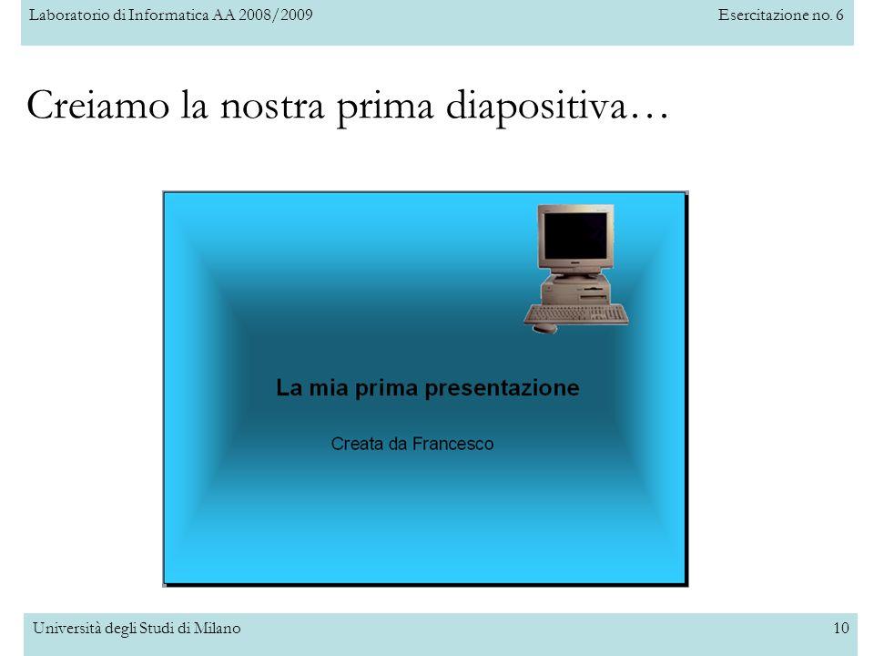 Laboratorio di Informatica AA 2008/2009Esercitazione no. 6 Università degli Studi di Milano10 Creiamo la nostra prima diapositiva…