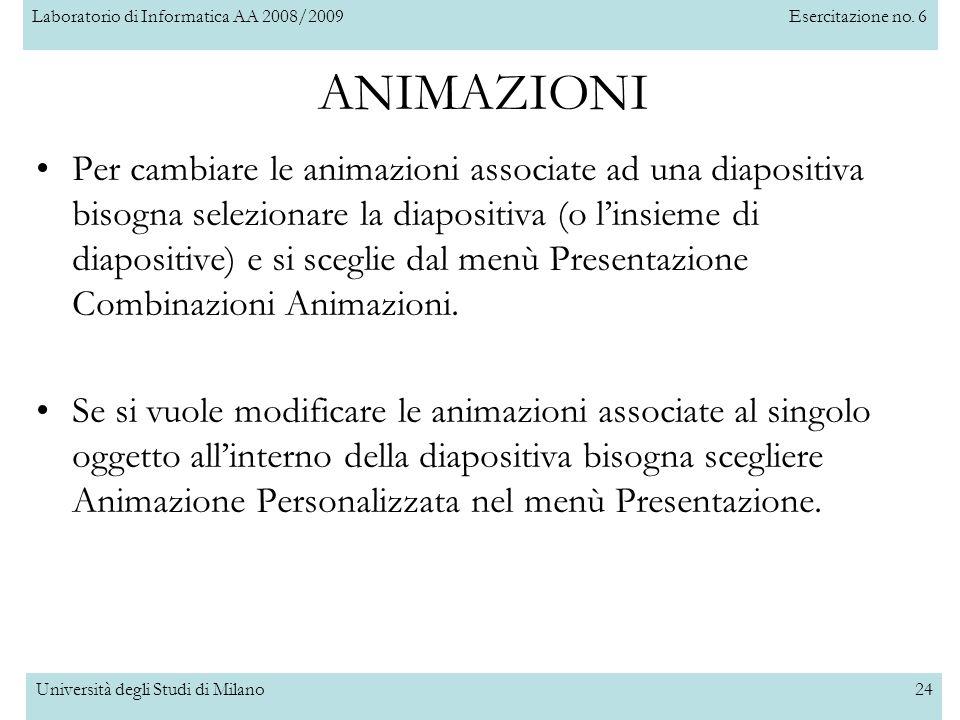 Laboratorio di Informatica AA 2008/2009Esercitazione no. 6 Università degli Studi di Milano24 Per cambiare le animazioni associate ad una diapositiva