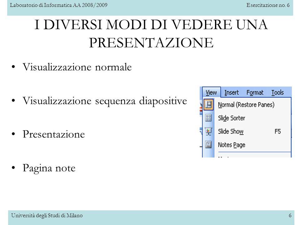 Laboratorio di Informatica AA 2008/2009Esercitazione no. 6 Università degli Studi di Milano6 I DIVERSI MODI DI VEDERE UNA PRESENTAZIONE Visualizzazion