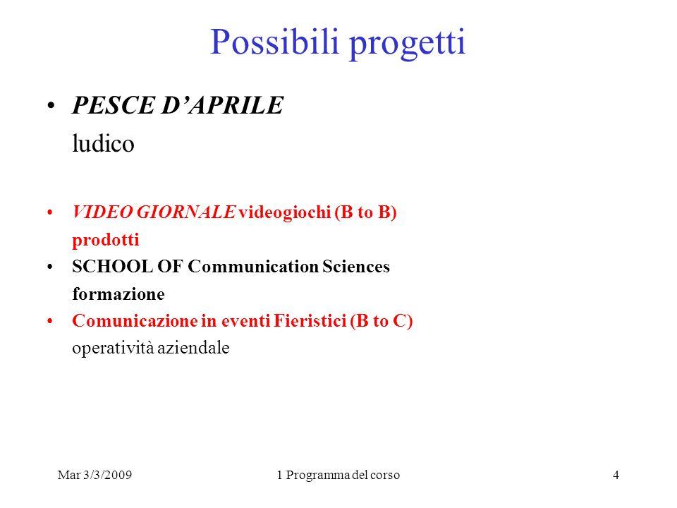 Mar 3/3/20091 Programma del corso4 Possibili progetti PESCE DAPRILE ludico VIDEO GIORNALE videogiochi (B to B) prodotti SCHOOL OF Communication Scienc