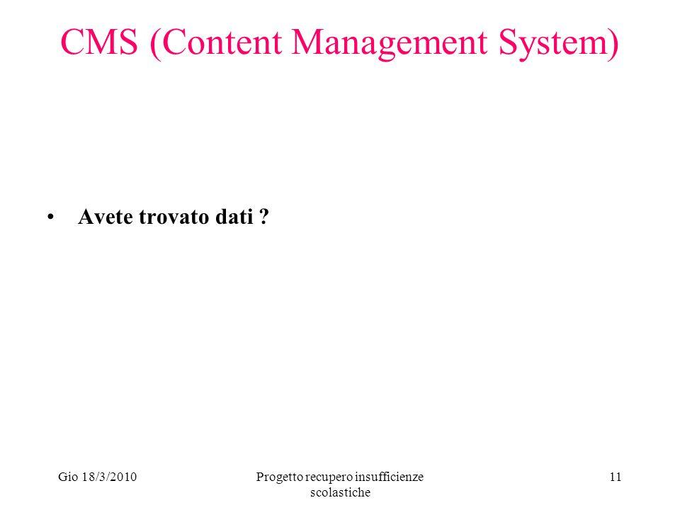 Gio 18/3/2010Progetto recupero insufficienze scolastiche 11 CMS (Content Management System) Avete trovato dati ?
