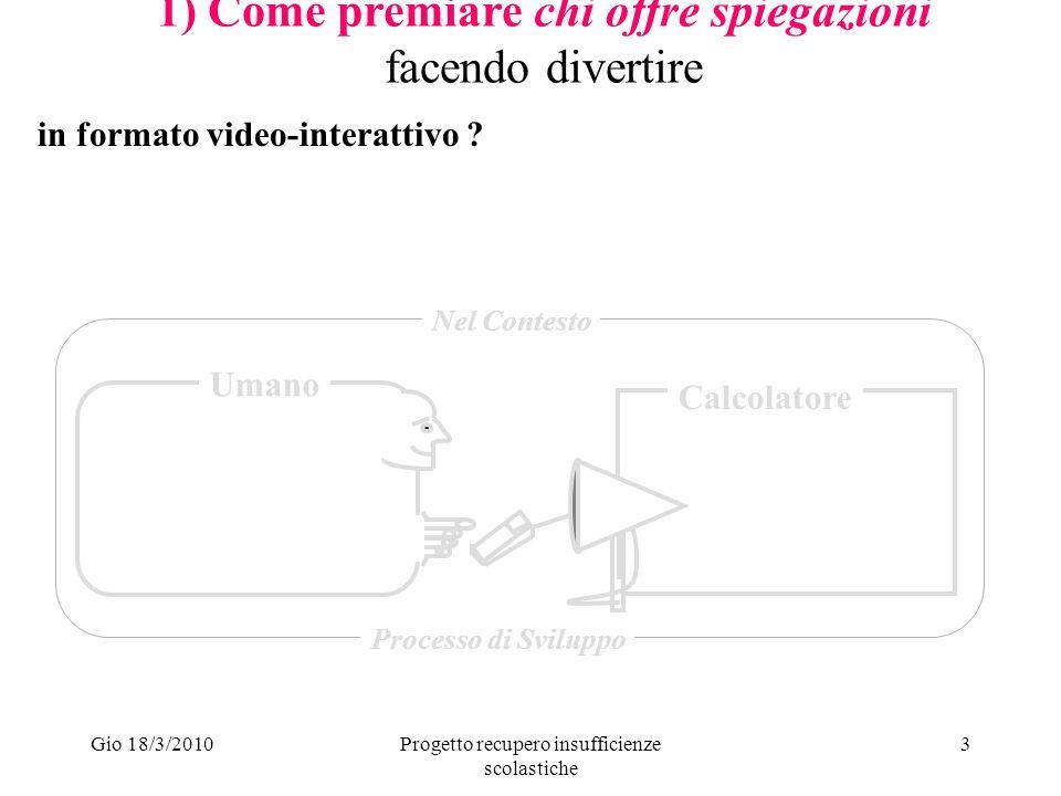 Gio 18/3/2010Progetto recupero insufficienze scolastiche 3 1) Come premiare chi offre spiegazioni facendo divertire Umano Calcolatore Nel Contesto Processo di Sviluppo in formato video-interattivo
