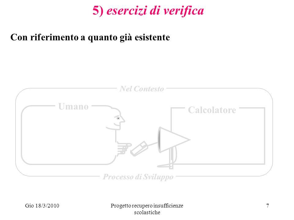 Gio 18/3/2010Progetto recupero insufficienze scolastiche 7 5) esercizi di verifica Umano Calcolatore Nel Contesto Processo di Sviluppo Con riferimento a quanto già esistente