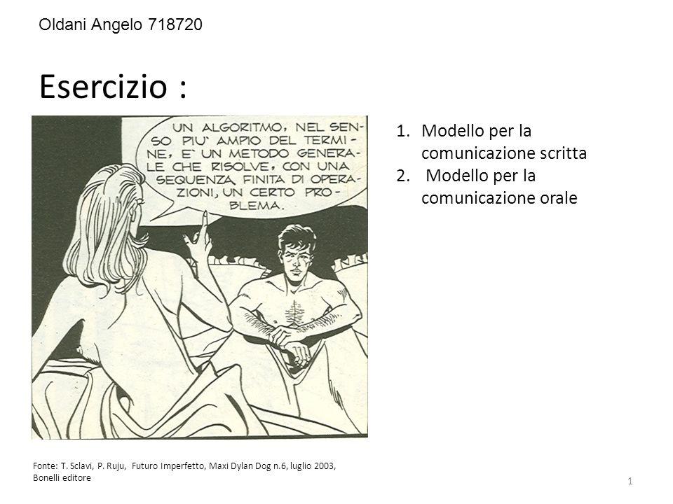Esercizio : Fonte: T. Sclavi, P. Ruju, Futuro Imperfetto, Maxi Dylan Dog n.6, luglio 2003, Bonelli editore 1.Modello per la comunicazione scritta 2. M