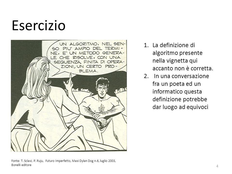 Esercizio Fonte: T. Sclavi, P. Ruju, Futuro Imperfetto, Maxi Dylan Dog n.6, luglio 2003, Bonelli editore 1.La definizione di algoritmo presente nella