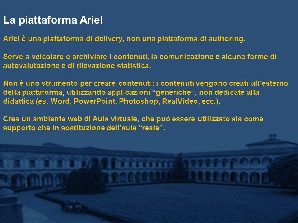 La piattaforma Ariel Ariel è una piattaforma di delivery, non una piattaforma di authoring.