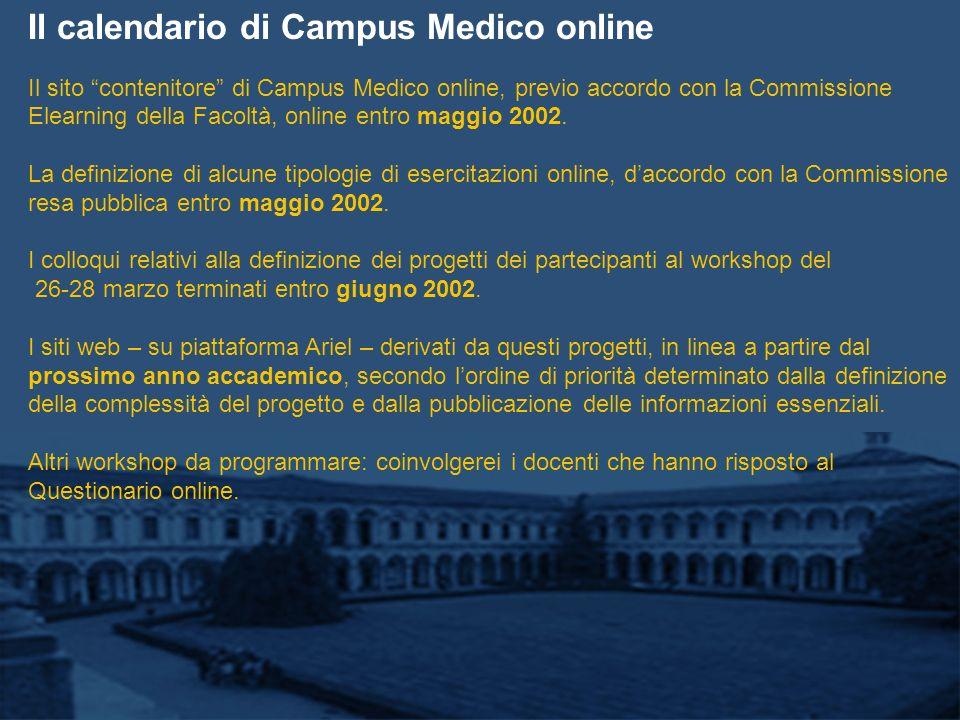 Il calendario di Campus Medico online Il sito contenitore di Campus Medico online, previo accordo con la Commissione Elearning della Facoltà, online entro maggio 2002.