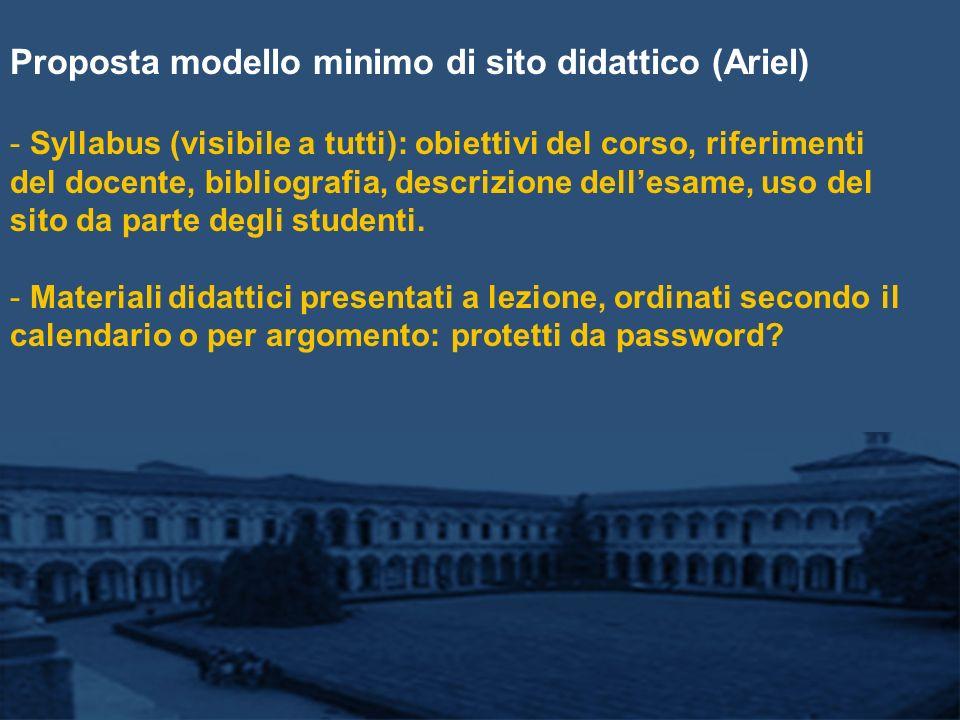 Proposta modello minimo di sito didattico (Ariel) - Syllabus (visibile a tutti): obiettivi del corso, riferimenti del docente, bibliografia, descrizione dellesame, uso del sito da parte degli studenti.