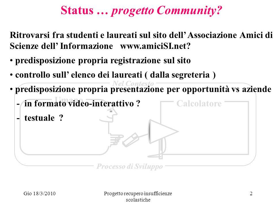 Gio 18/3/2010Progetto recupero insufficienze scolastiche 3 Status … progetto Community.