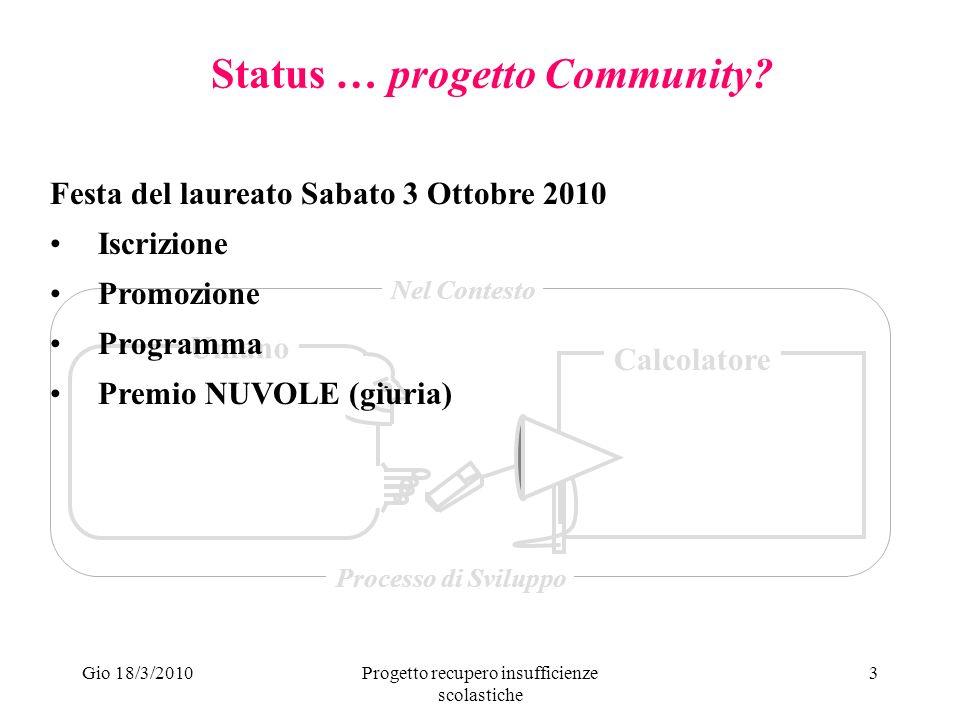 Gio 18/3/2010Progetto recupero insufficienze scolastiche 4 Status … progetto PRISc.