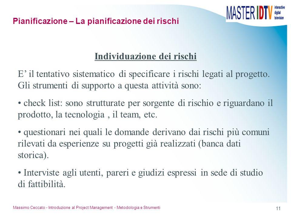 10 Massimo Ceccato - Introduzione al Project Management - Metodologia e Strumenti Individuazione dei fattori di rischio del progetto; Classificazione