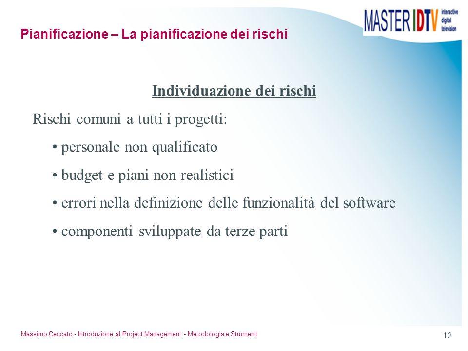 11 Massimo Ceccato - Introduzione al Project Management - Metodologia e Strumenti Individuazione dei rischi E il tentativo sistematico di specificare