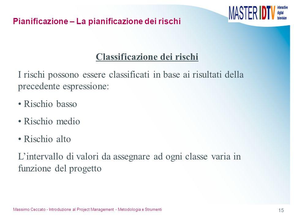 14 Massimo Ceccato - Introduzione al Project Management - Metodologia e Strumenti Classificazione dei rischi Il rischio deve essere classificato in ba