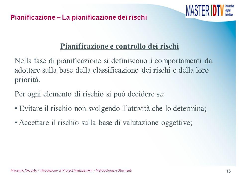 15 Massimo Ceccato - Introduzione al Project Management - Metodologia e Strumenti Classificazione dei rischi I rischi possono essere classificati in b