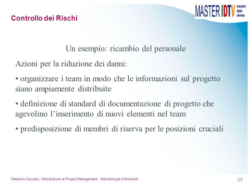 22 Massimo Ceccato - Introduzione al Project Management - Metodologia e Strumenti Un esempio: ricambio del personale Azioni per la riduzione della pro