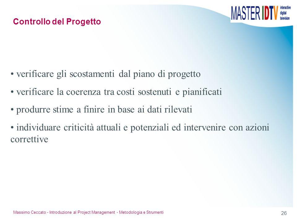 25 Massimo Ceccato - Introduzione al Project Management - Metodologia e Strumenti Un esempio: ricambio del personale azioni correttive: riconoscimenti