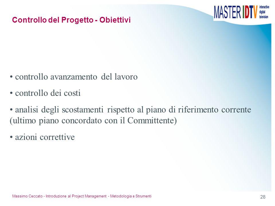 27 Massimo Ceccato - Introduzione al Project Management - Metodologia e Strumenti Perché sono utili segnali tempestivi? Le correzioni in corso sono pi