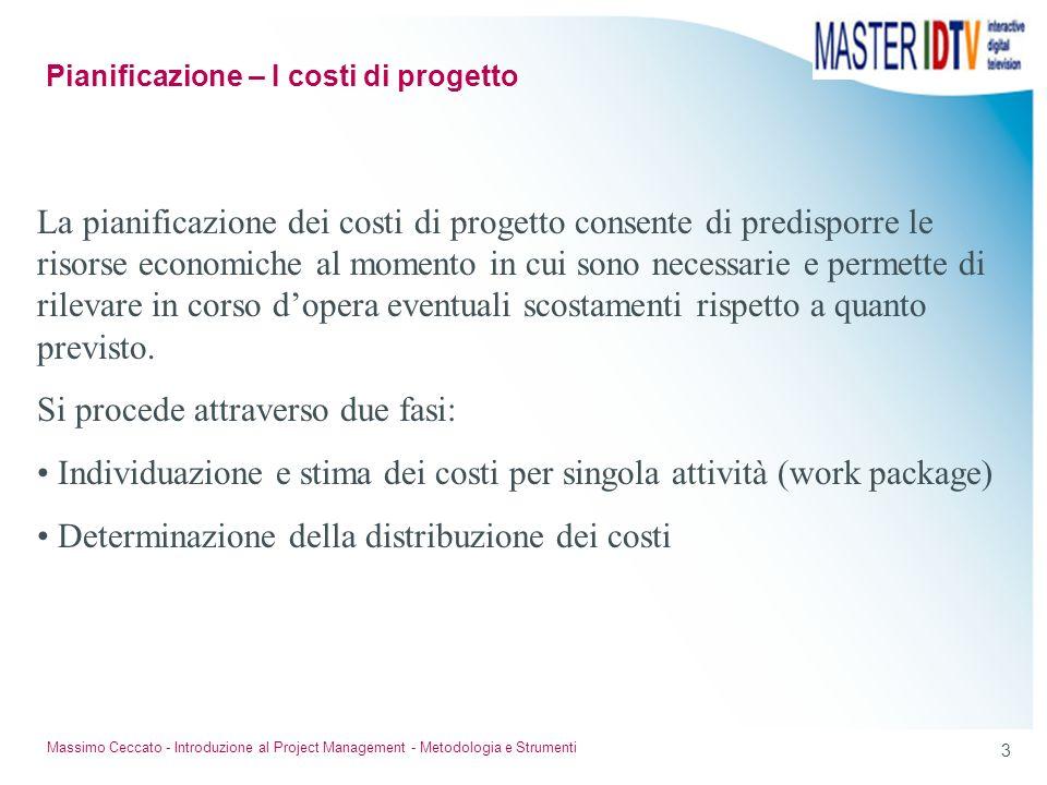 2 Massimo Ceccato - Introduzione al Project Management - Metodologia e Strumenti Contenuti del Corso Impostazione del progetto; Pianificazione delle a