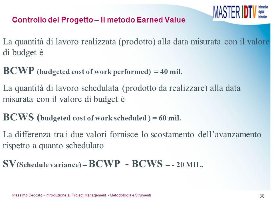37 Massimo Ceccato - Introduzione al Project Management - Metodologia e Strumenti Siamo alla fine del terzo mese, ma solo due sezioni del tracciato so