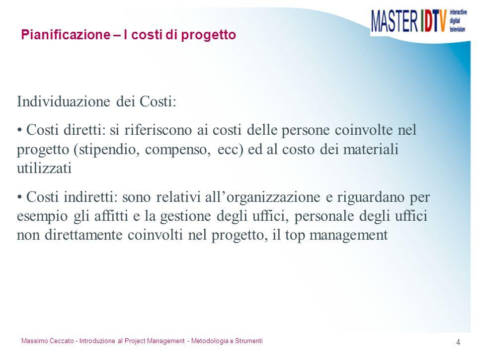 3 Massimo Ceccato - Introduzione al Project Management - Metodologia e Strumenti La pianificazione dei costi di progetto consente di predisporre le ri