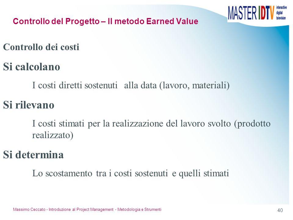 39 Massimo Ceccato - Introduzione al Project Management - Metodologia e Strumenti Mil. 5 mesi BCWS BCWP Tempo 100 sv Diagrammi Controllo del Progetto